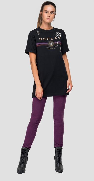 Cotton t-shirt with print - Replay W3233D_000_22662_098_1
