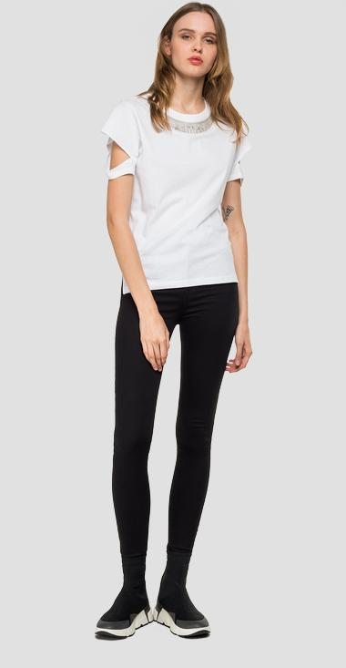 T-shirt with slits on the sleeves - Replay W3251_000_22658M_001_1