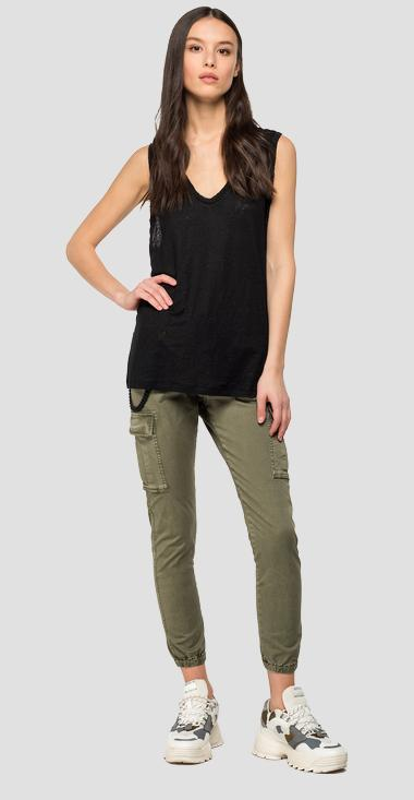 Linen sleeveless t-shirt - Replay W3262_000_22828_098_1