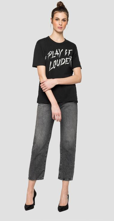 RE-PLAY IT LOUDER fringed t-shirt - Replay W3308_000_22536P_099_1