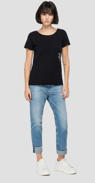 Slim fit t-shirt with ROSE LABEL t-shirt - Replay W3327B_000_23120P_098_1