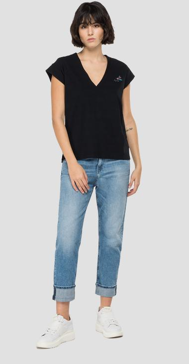 Jersey t-shirt with ROSE LABEL embroidery - Replay W3338B_000_22660_098_1