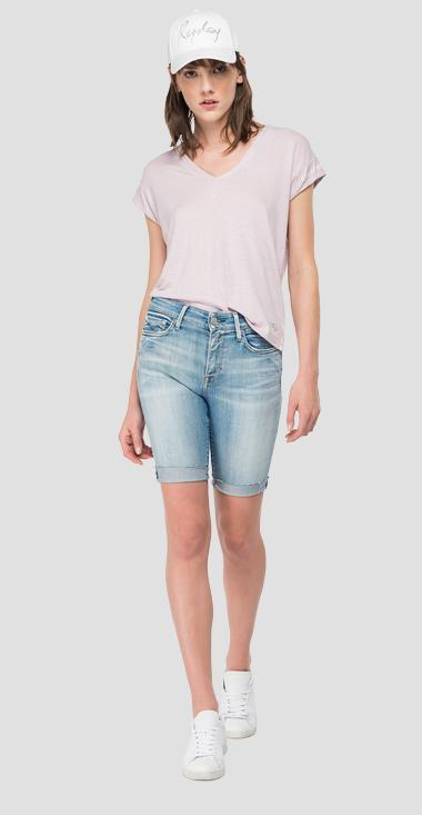 Linen t-shirt with V-neck - Replay W3338_000_23101P_513_1