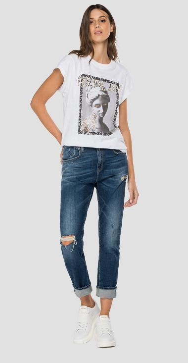 Slim fit t-shirt with glitter print - Replay W3502C_000_22676P_001_1