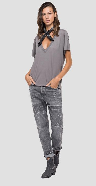 T-shirt in solid-coloured stretch jersey - Replay W3505_000_22834G_210_1