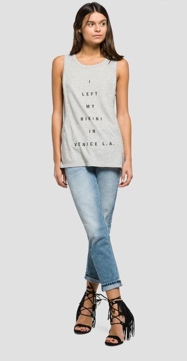 Printed cotton top - Replay W3720A_000_20760P_M04_1