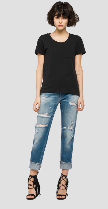 Cotton T-shirt with chest pocket - Replay W3783E_000_20760P_099_1