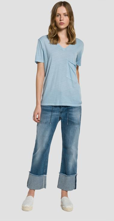 Cotton and linen V-neck T-shirt - Replay W3790C_000_22352_583_1