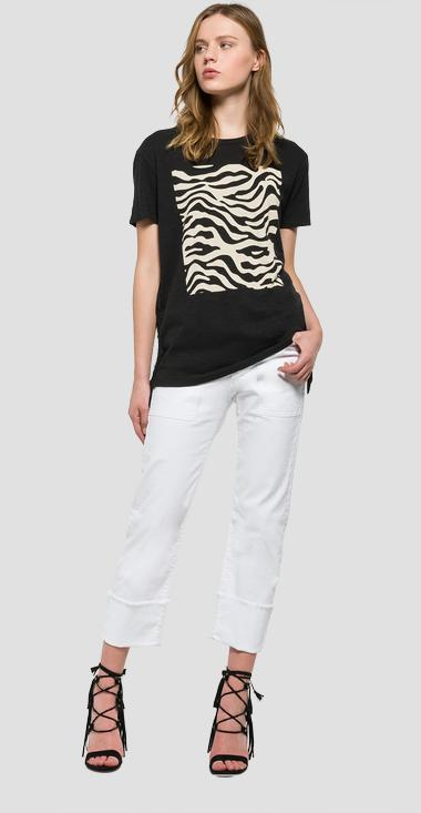 Printed T-shirt and side fringes - Replay W3791K_000_20760P_099_1