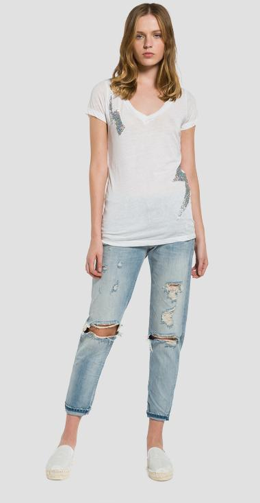 Burnout T-shirt with glitter patches - Replay W3809A_000_22060G_011_1