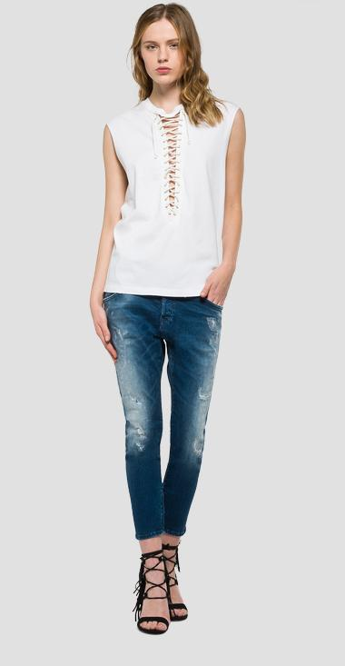 Cotton lace-up top - Replay W3820A_000_22038B_001_1