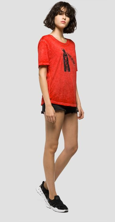 T-shirt with contrast print - Replay W3825_000_22346_254_1