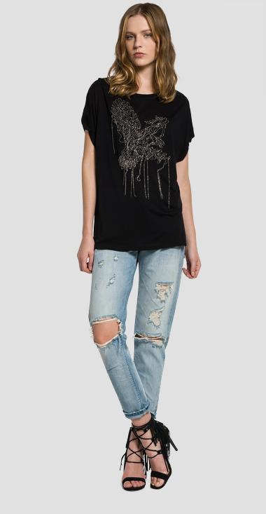 T-shirt with gold embroidery - Replay W3826B_000_22320_098_1