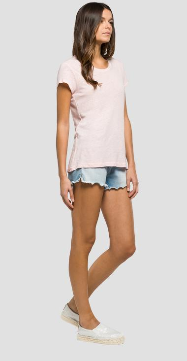 Solid linen and cotton T-shirt - Replay W3832_000_22352_664_1