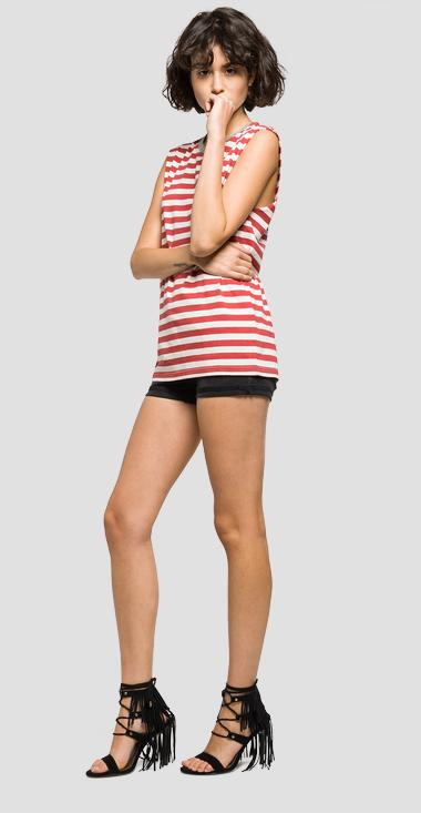 Two-tone striped crewneck top - Replay W3880_000_51916_010_1