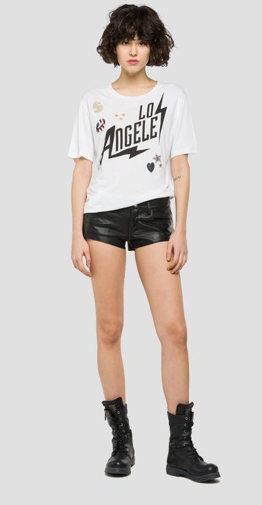 Longline printed T-shirt with patch details - Replay W3886C_000_22320_001_1