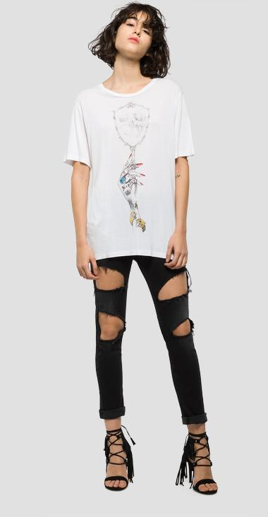 Hand-drawn print T-shirt - Replay W3886D_000_22320_001_1