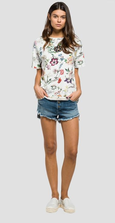 T-shirt with all-over floral print - Replay W3886E_000_71282_020_1