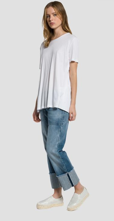 Back-slit cotton T-shirt - Replay W3891A_000_22362D_001_1