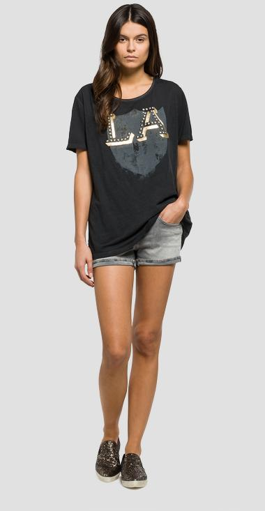 Printed jersey T-shirt with studs - Replay W3891_000_22362C_099_1