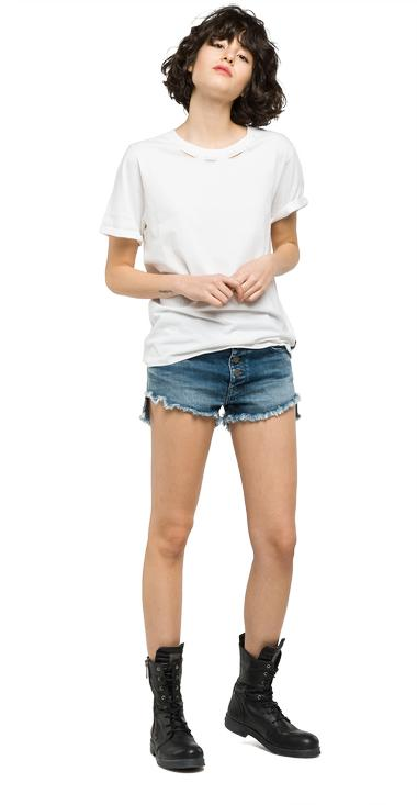 Wrinkled jersey T-shirt - Replay W3894A_000_22038B_001_1