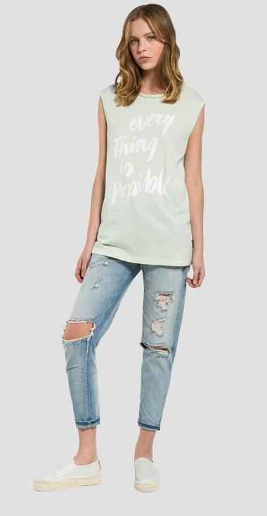 Longline letter-print top - Replay W3911A_000_20994T_952_1