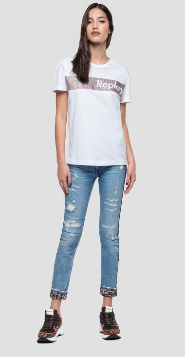 T-shirt with glitter detail - Replay W3940R_000_22660_001_1