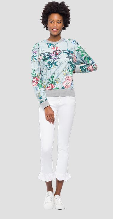 Sweater with flowers print - Replay W3971H_000_71770_010_1