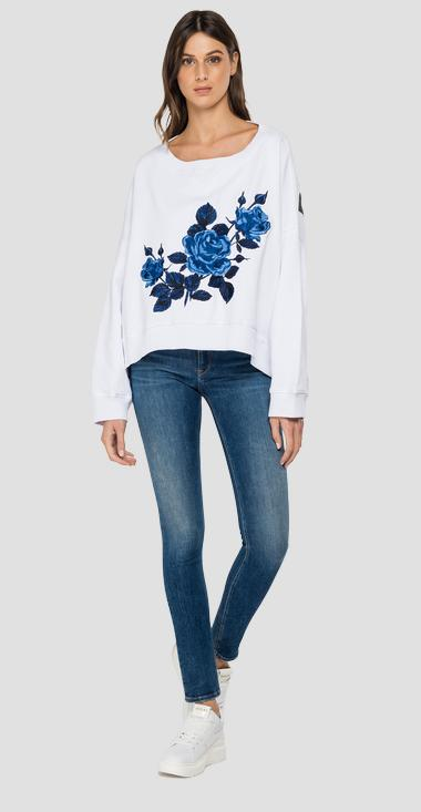 Oversized sweatshirt with ROSE LABEL embroidery - Replay W3992C_000_22890P_001_1