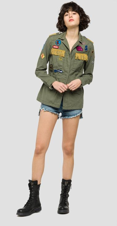 Satin jacket with colourful patches - Replay W7253A_000_82724_314_1