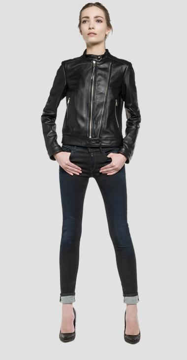 promo code ff414 c5957 Giubbotto biker in pelle di vitello - Replay