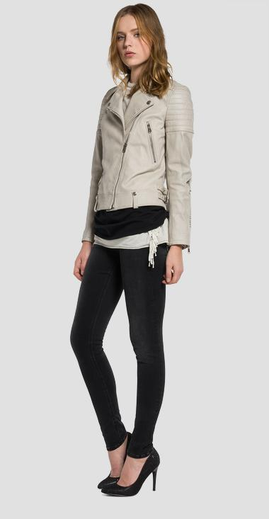 Leather jacket with stitching - Replay W7353_000_82790_070_1