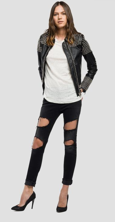 Studded leather jacket - Replay W7354_000_82246_010_1