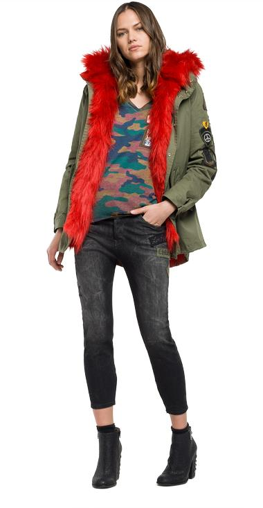 Faux-fur trimmed parka with print - Replay W7388_000_80623B_531_1