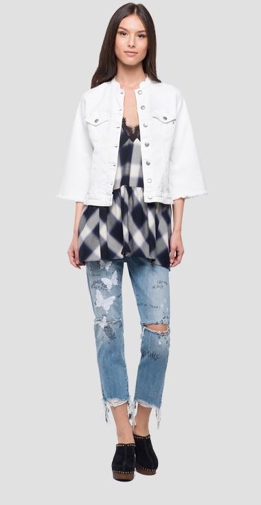 Denim jacket with bell sleeves - Replay W7408_000_8064101_001_1