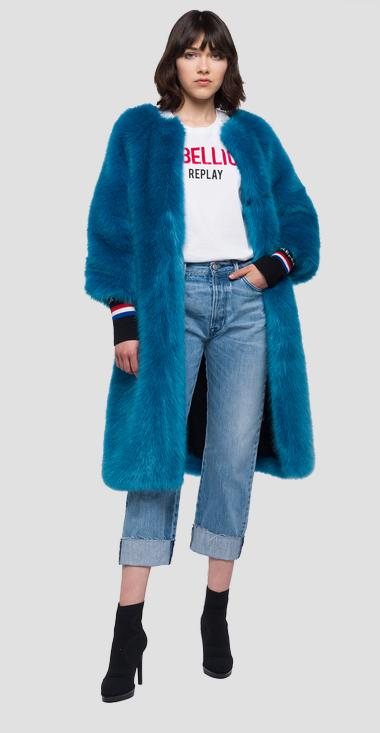 Long faux fur coat round neckline - Replay W7470_000_83170_182_1