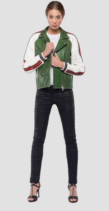 Colorblock biker jacket - Replay W7518_000_83056A_010_1