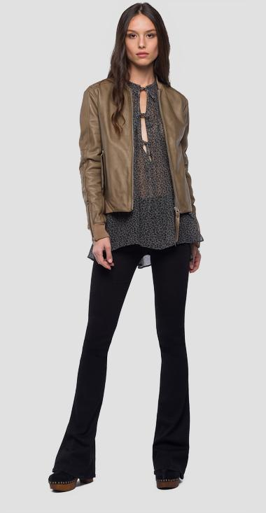 Leather jacket with zipper - Replay W7522_000_83056_042_1