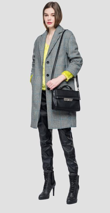 Single-breasted checked coat - Replay W7537_000_52220_010_1