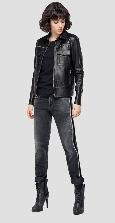 Leather jacket with zipper - Replay W7559_000_83254_010_1