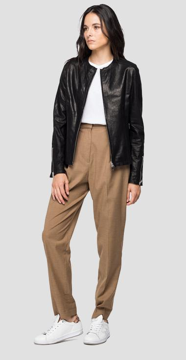 Leather jacket with waxed effect - Replay W7564_000_83710_010_1