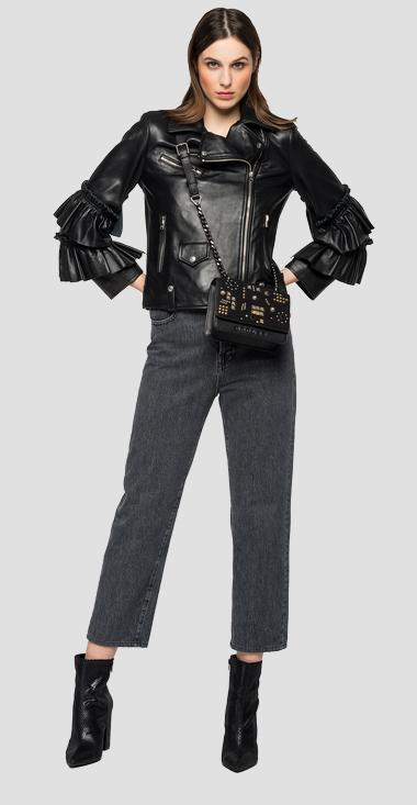 Leather biker jacket with frills - Replay W7621_000_83706_010_1
