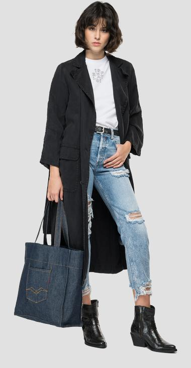 Essential REPLAY double-breasted linen trench coat - Replay W7653_000_84220G_099_1