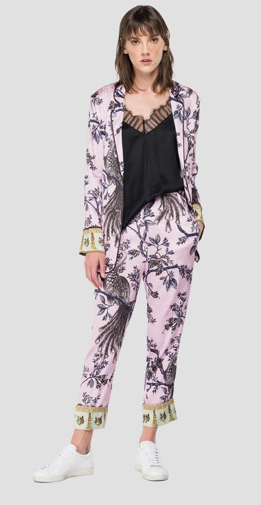 Stretch viscose jacket with all-over print - Replay W7658B_000_73357_010_1