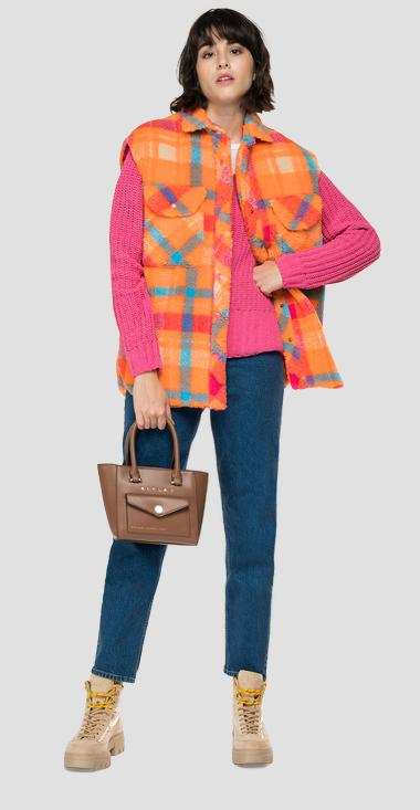 Vest in recycled checked eco teddy-fur - Replay W7675_000_52460_020_1