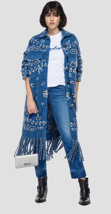 Oversized coat with fringes - Replay W7685_000_52468_010_1