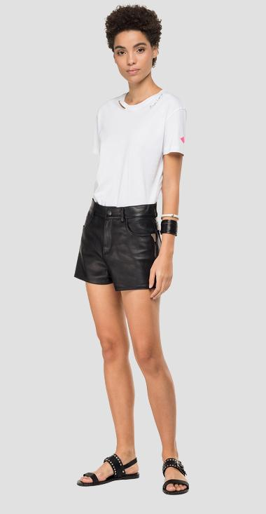 Shorts pants in hammered leather - Replay W8501_000_83056_010_1