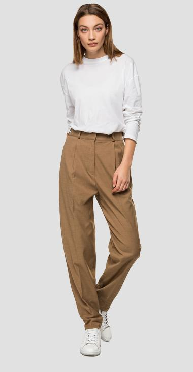High-waisted trousers with pockets - Replay W8504_000_50581_321_1
