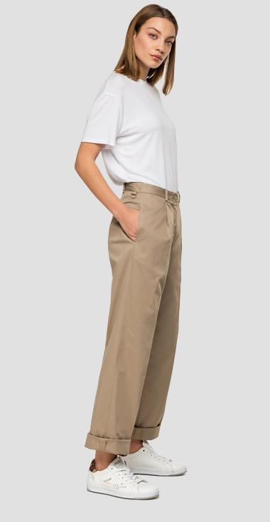 Stretch gabardine cotton trousers - Replay W8507_000_83681_010_1