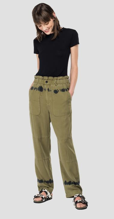 Essential high-waisted trousers in linen - Replay W8523A_000_84078B_020_1